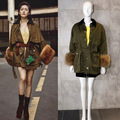 16 Women Parkas Long Sleeve raccoon fur Belt Waist Cotton Liner Khaki femme outwear autumn winter Chic Parkas New Women Overcoat