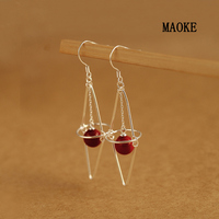 Promotions Red Bead 925 Sterling Silver Ear Hook Exaggerated Personality Fashion Jewelry for Women's Fashion Gifts