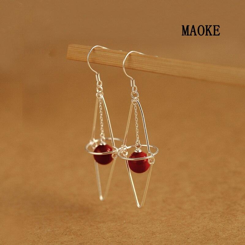 Promotions perle rouge 925 crochet d'oreille en argent Sterling personnalité exagérée bijoux de mode pour les cadeaux de mode des femmes