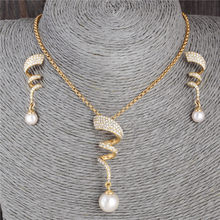 New Fashion Jewelry 2 pcs/set Necklace Earrings Set Austrian Crystal Gold Color Imitation Pearl Necklace Jewelry Sets For Women(China)