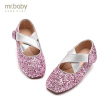 ФОТО mr.baby original kids shoes 2018 new spring and autumn flash dance princess girl single shoes leather shoes