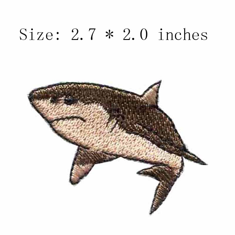 Shark embroidery patch