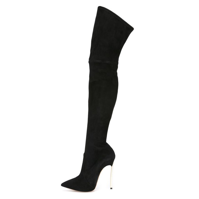 2018 winter new over-the knee long boots Sexy thin high heel pointed toe show thin long boots Leather/stretch boots for women цена 2017