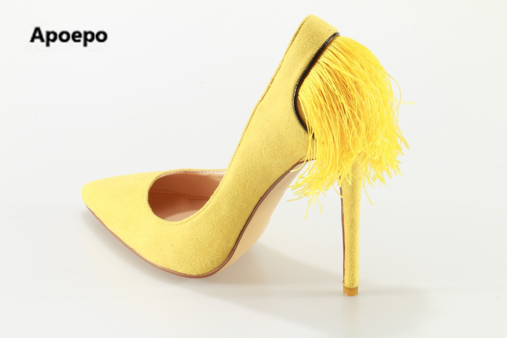 Фотография Apoepo high heel shoes suede fringed thin heels shoes for woman 2017 sexy pointed toe stiletto heels super high dress shoes
