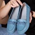 Nova chegada 2017 boca rasa baixo sapatos de couro genuíno das mulheres do dedo do pé apontado plana dot sapatos único casuais sapatos de senhora marca sapatos