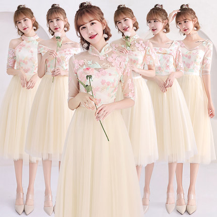 2018new stock plus size women pregnant wedding party   Bridesmaid     Dresses   tea length sexy romantic champagne   dresses   jyx8012