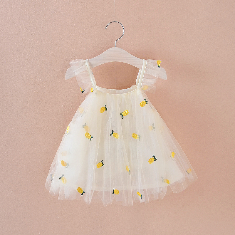 2018 New Fashion Cute Baby Clothes Bebe Clothing Kids Dresses Girl Sleeveless Pineapple Embroidery Tutu Infant Dress for 0-3Y