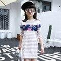T-shirt da menina para a primavera eo verão de moda impressão de manga comprida camisas longas 2017 novo listrado Coreano T-shirt ocasional