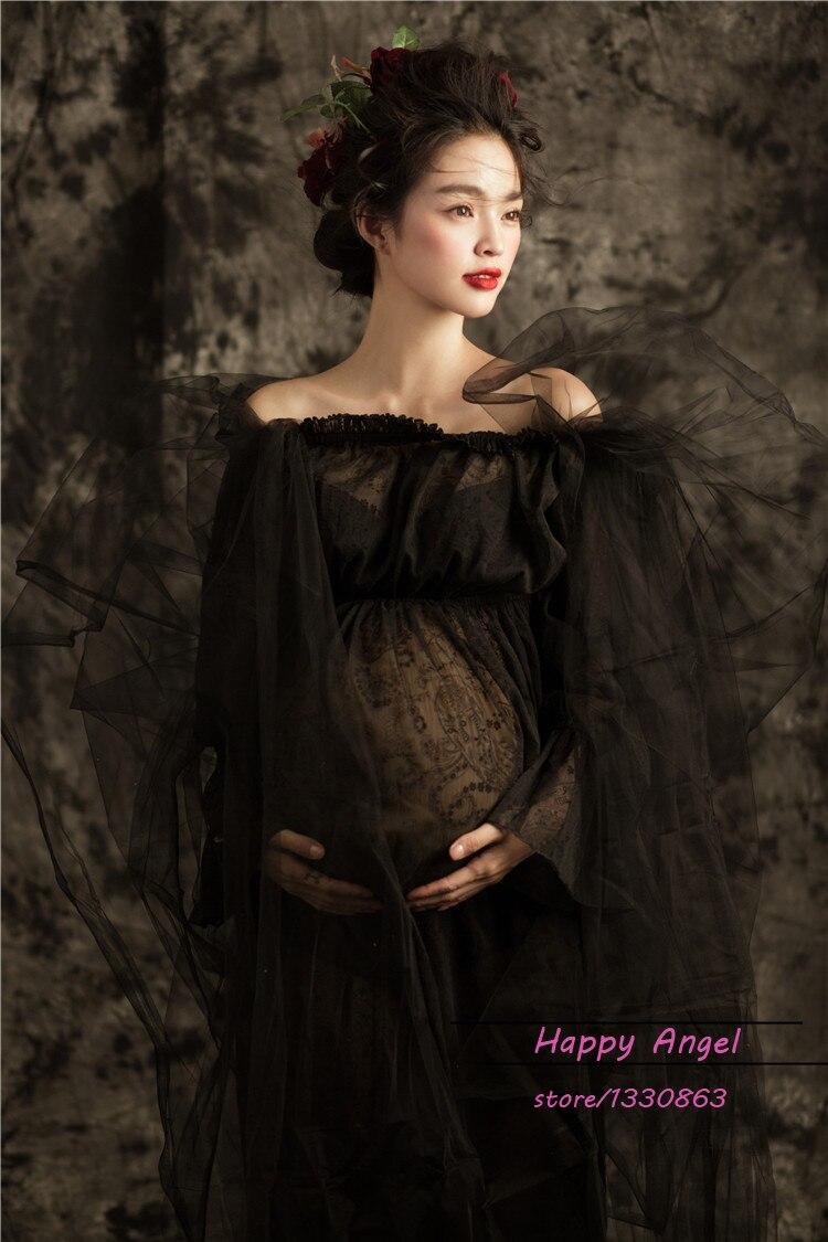 Черна рокля с дълги дантела без - Бременност и майчинство - Снимка 4