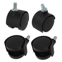 Ayhf-Пластик поворотный МНЛЗ 8 мм стержня винта 1.5-дюймовый диаметр колеса 4 шт. черный