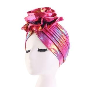 Image 3 - Laser Silky colorful flower turban for Women New Muslim Headscarf Hat Chemo Hat Headwrap Bonnet Salon Hat Accessories