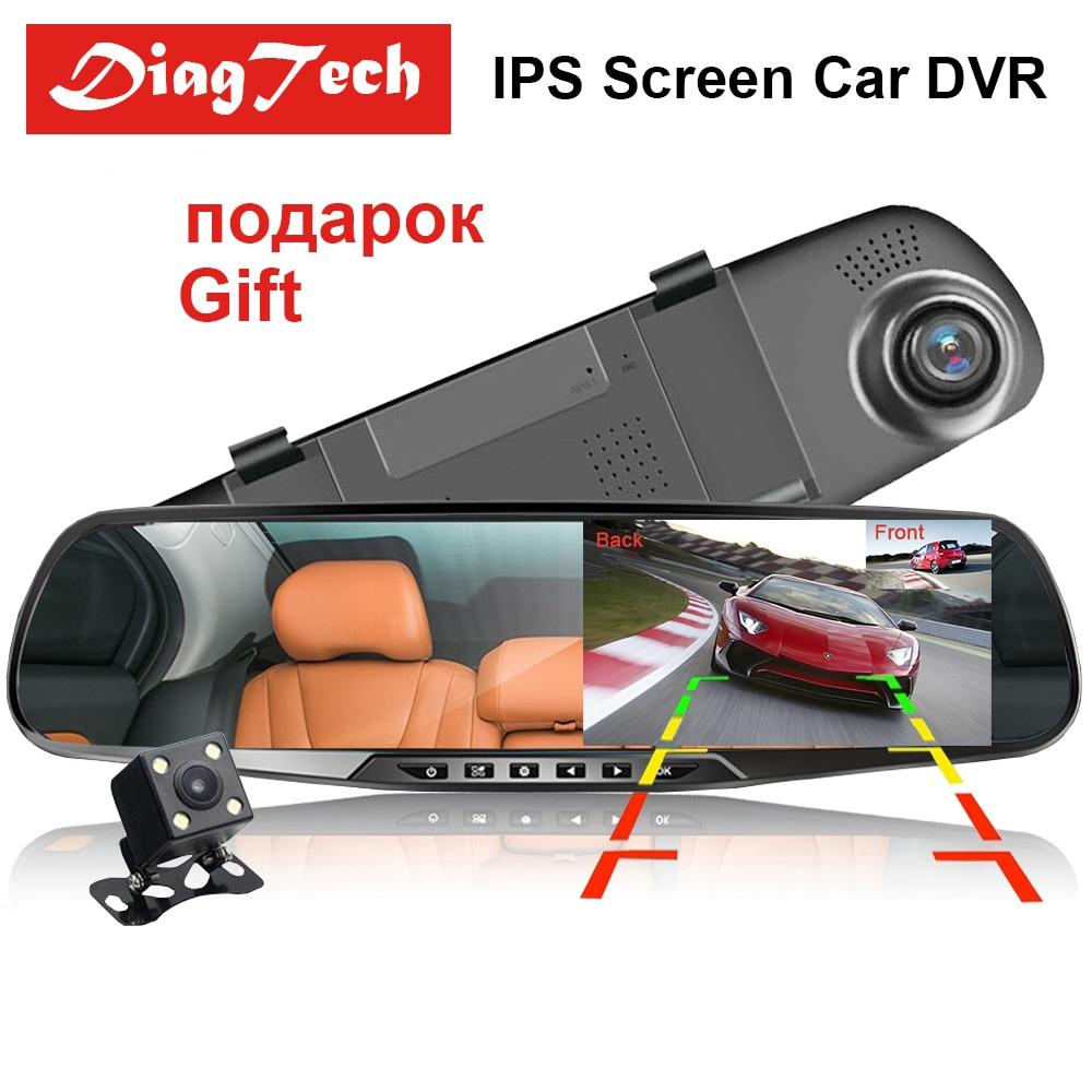 Зеркало видеорегистратор 4 3 дюйма автомобильный регистратор с двумя объективами