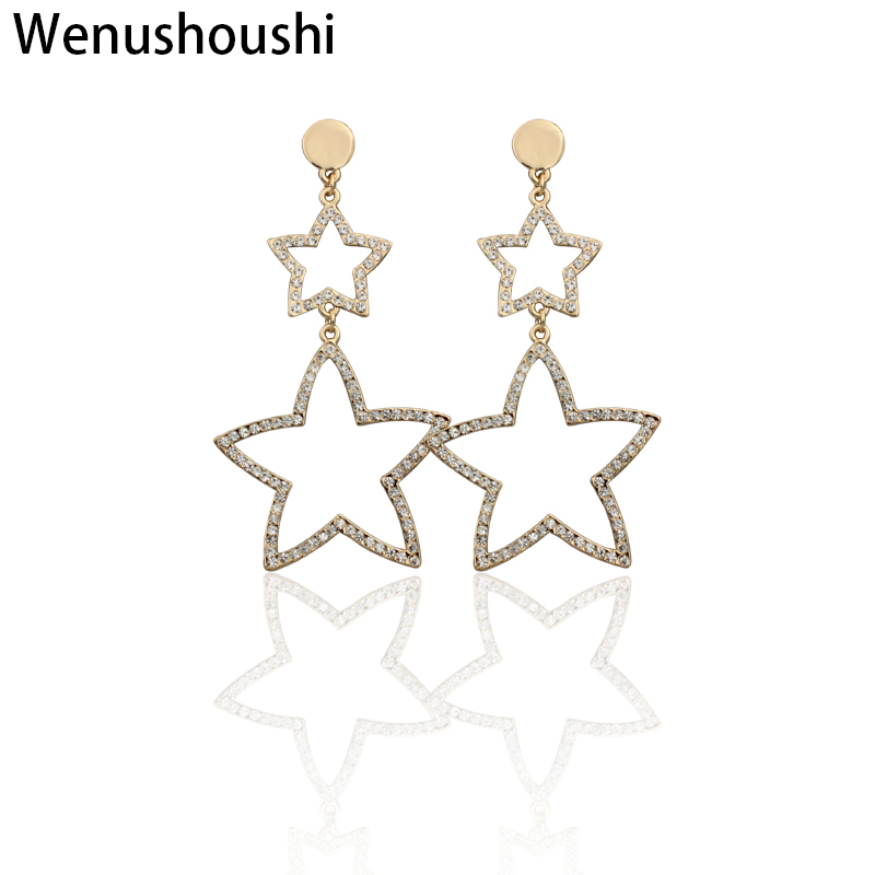 WENUSHOUSHI full rhinestone Hyperbole small big hollow out long stars dangle earrings for women alloy nickel free gold color