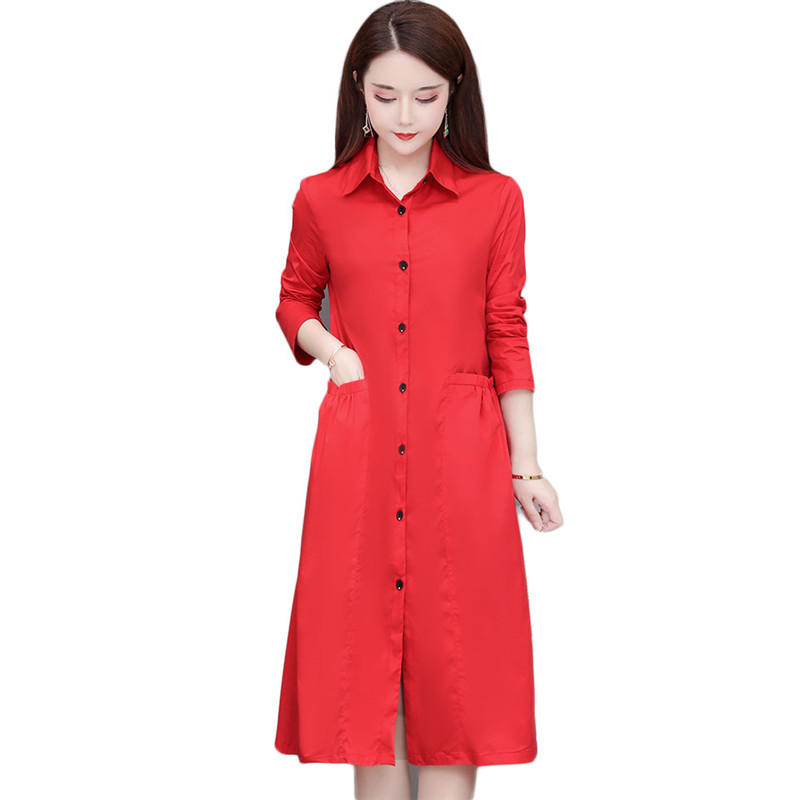 2019 Spring Autumn New Women   Trench   Coat Turn-Down Collar A-Line Windbreaker Single-Breasted Slim Long   Trench   Plus Size 4XL M216