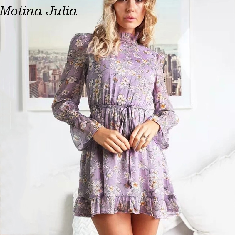 c3e3c11c2972d Motina Julia Ruffle floral print short chiffon dress women Autumn winter  party casual smock dress vestidos female-in Dresses from Women's Clothing  on ...