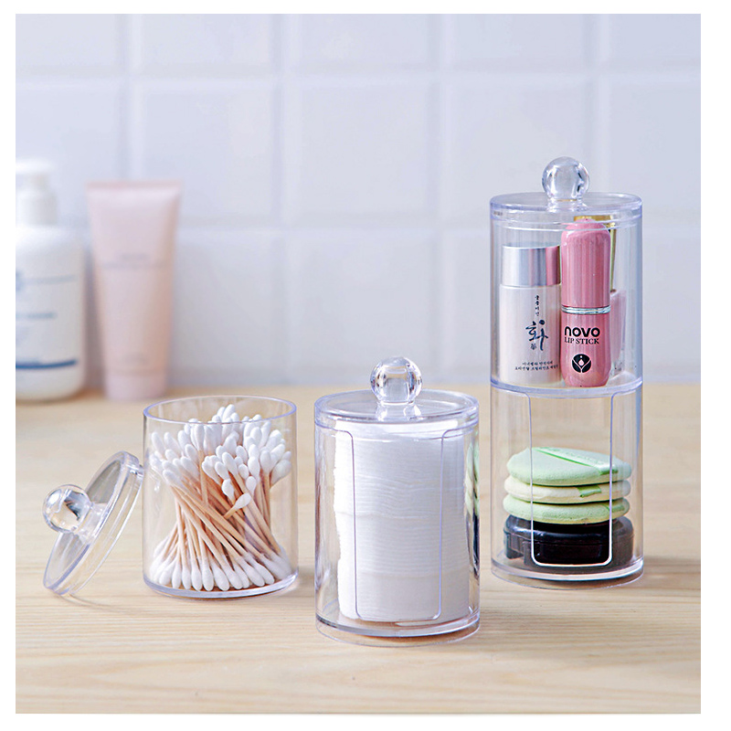 UzeQu Acrylic Multifunctional Round Qtip Container Cosmetic Makeup Cotton Pad Organizer Jewelry Storage Box Holder and Candy Jar in Storage Boxes Bins from Home Garden