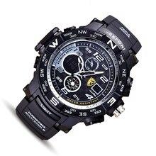 Hommes Automatique Montre étanche sport mens double affichage chronomètre armée militaire montre-bracelet top qualité homme datejust horloge choc