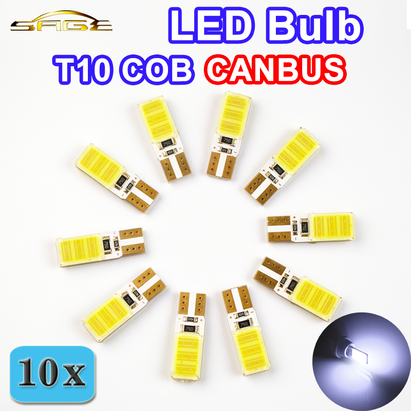 flytop 10 PCS 12V 5W T10 COB CANBUS 194 W5W LED Bulbs Super Bright Error Free Car Light Auto No Errors CAN BUS Lamps White Color 10pcs super bright led lamp t10 w5w 194 6smd 4014 error free canbus interior bulb white for car dc 12v free shipping new