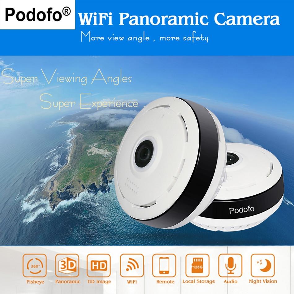 Podofo HD Fisheye IP Камера 960 P 360 Полный вид Мини CCTV Камера 1.3mp сети P2P Wirelss домашней безопасности Wi-Fi камера панорамный ИК