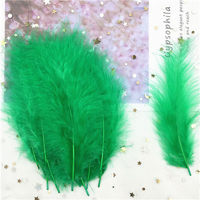 Natural Turkey Feathers Plumes 4-6 Inches10-15cm Multicolor Chicken Marabou Feather DIY Craft Wedding Jewelry Decoration 50pcs - Цвет: green 50p