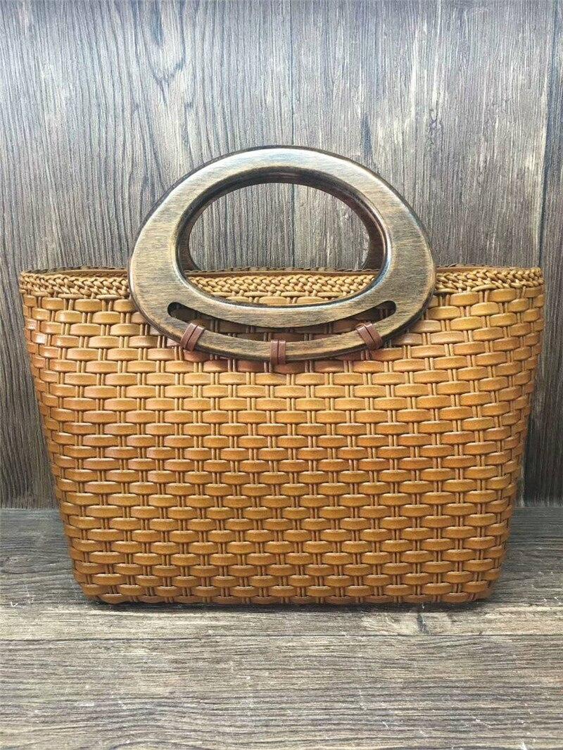 high quality Women weave female handbag handmade rattan weaving wood handshank leather bags women handmade rattan weaving craft top handle genuine leather bags women