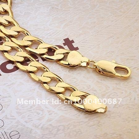 Low Price Whole Men S Jewelry 18k Yellow Gold Filled Necklace Chain 24 Curb