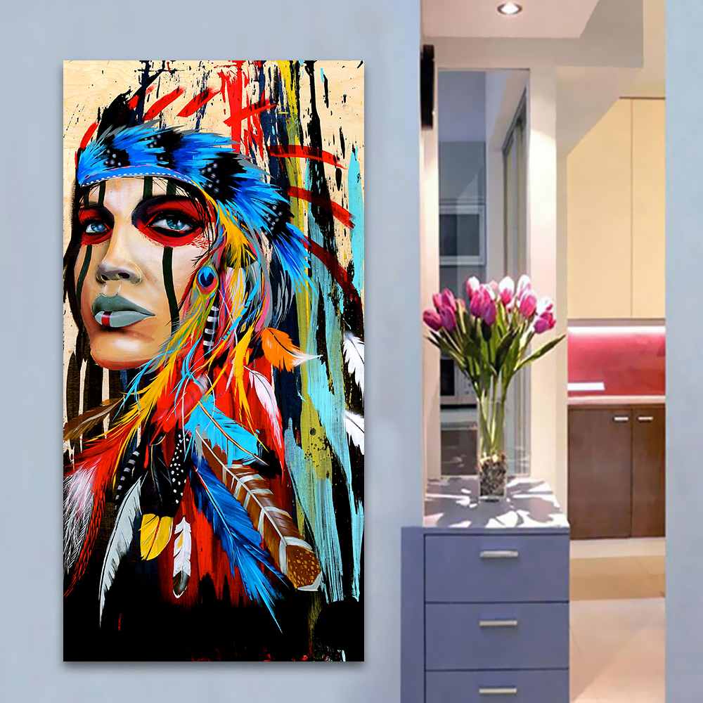 50 Beautiful Wall Painting Ideas And Designs For Living: Canvas Art Wall Painting Feathers Indian Woman Girl