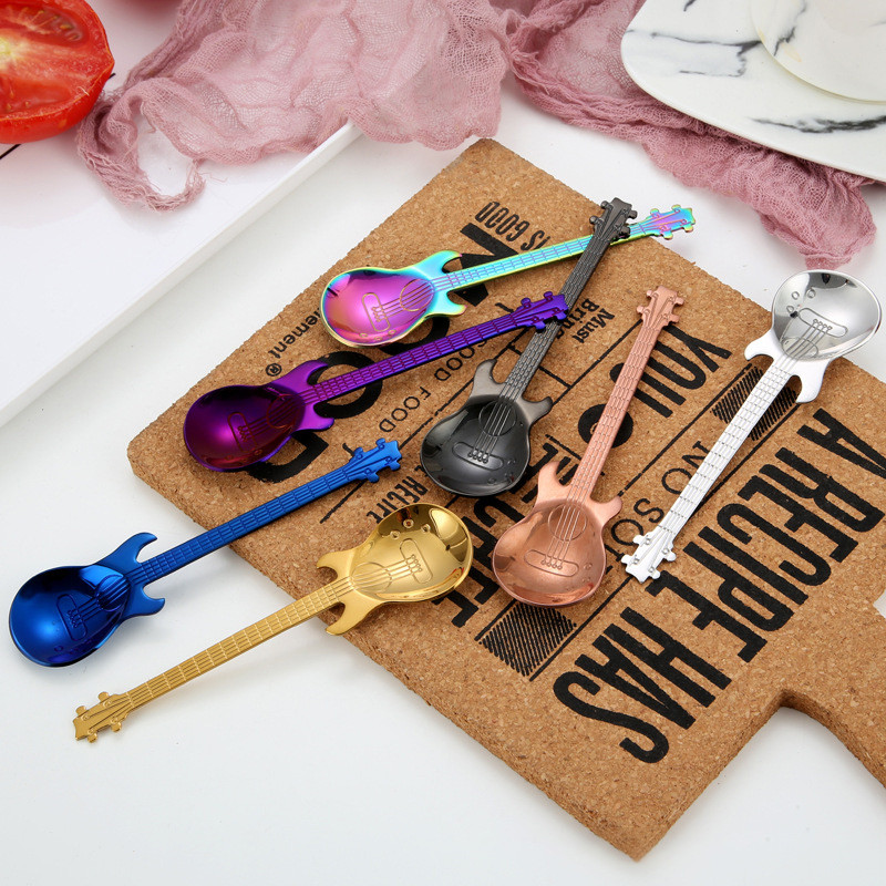 Guitar Coffee Spoon Set Stainless Steel Dessert Ice Cream Spoon Tea Spoon Coffee Accessories Flatware Drinking Tools