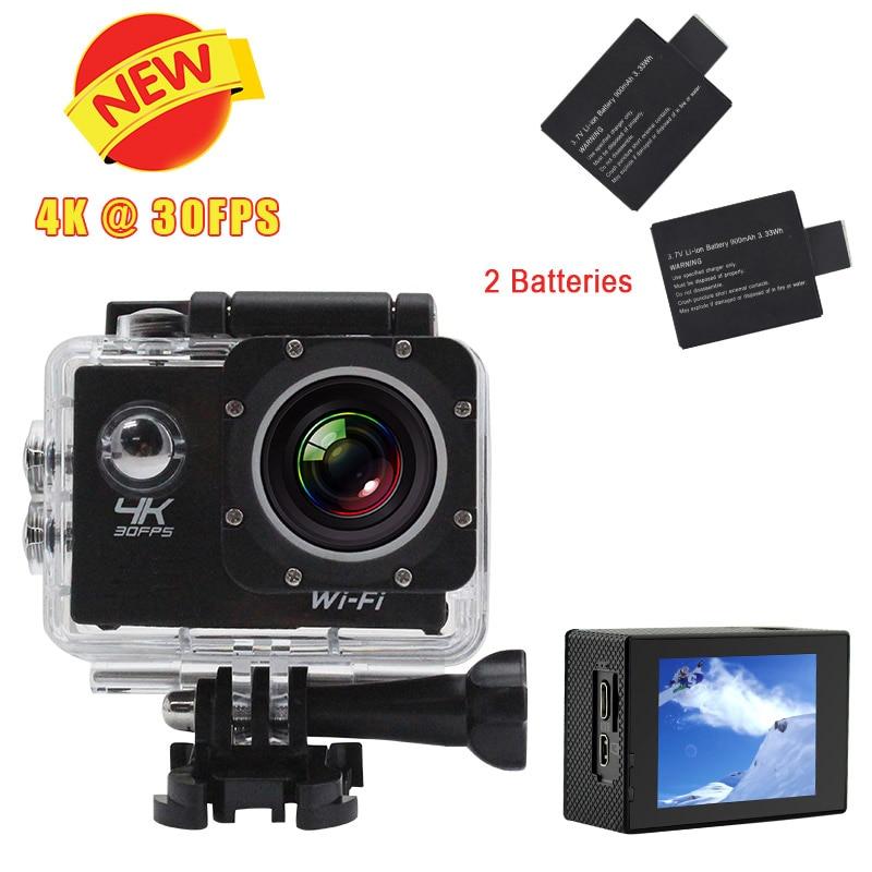 2 Batteries  4K Ultra HD 30FPS H10 WIFI Sport DV 2.0 LCD Wifi  Action Camera 30m Waterproof  Sport  Camera 170 degree Sport DV