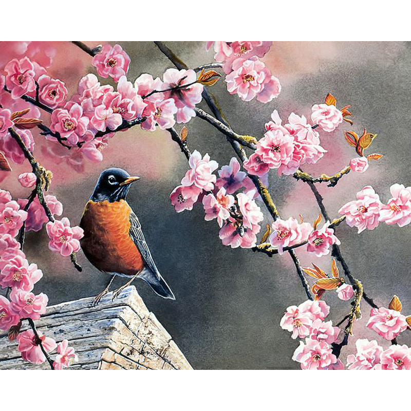 Painting By Numbers DIY Dropshipping 40x50 50x65cm Bird under the peach tree Animal Canvas Wedding Decoration Art picture Gift thumbnail