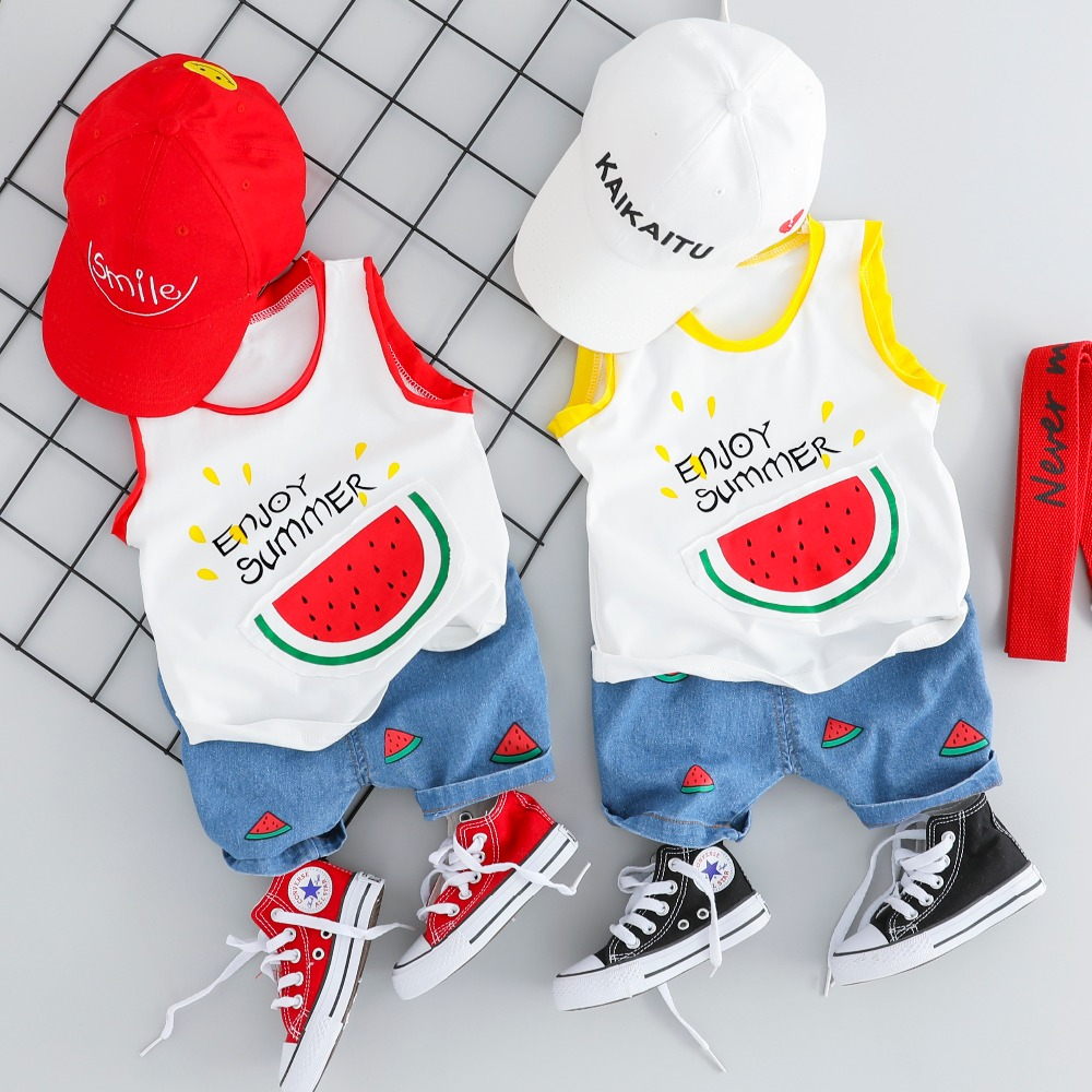 2019 Summer New Baby Boys Clothing Sets Kids Children Clothes Suits Watermelon T Shirt Shorts Infant Toddler Casual Suit in Clothing Sets from Mother Kids