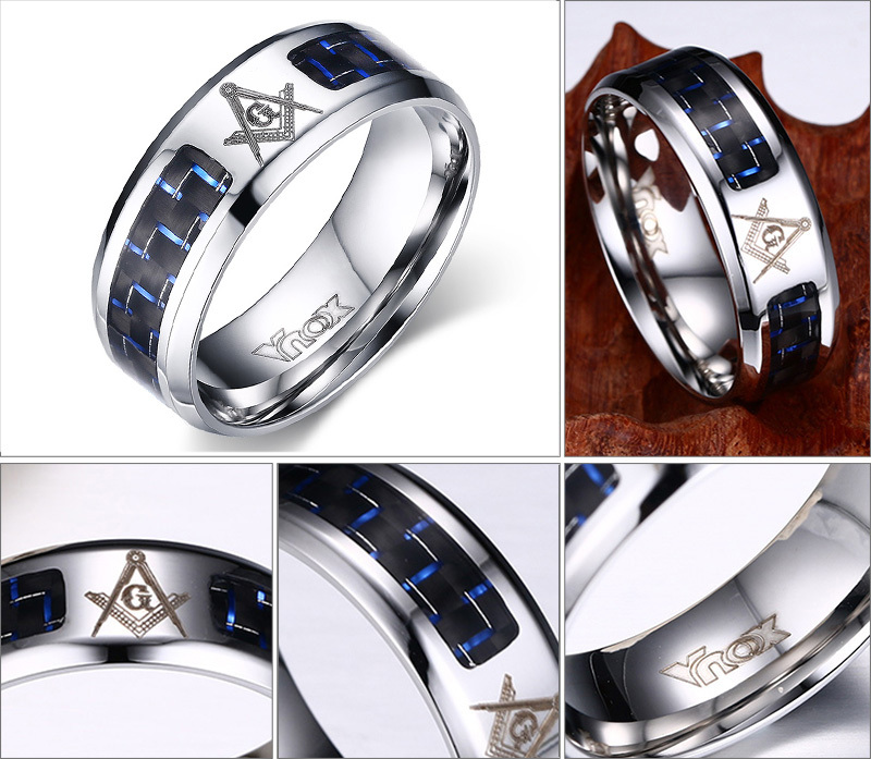 meaeguet cool men masonic rings stainless steel wedding rings for men jewelry with blue black - Cool Wedding Rings