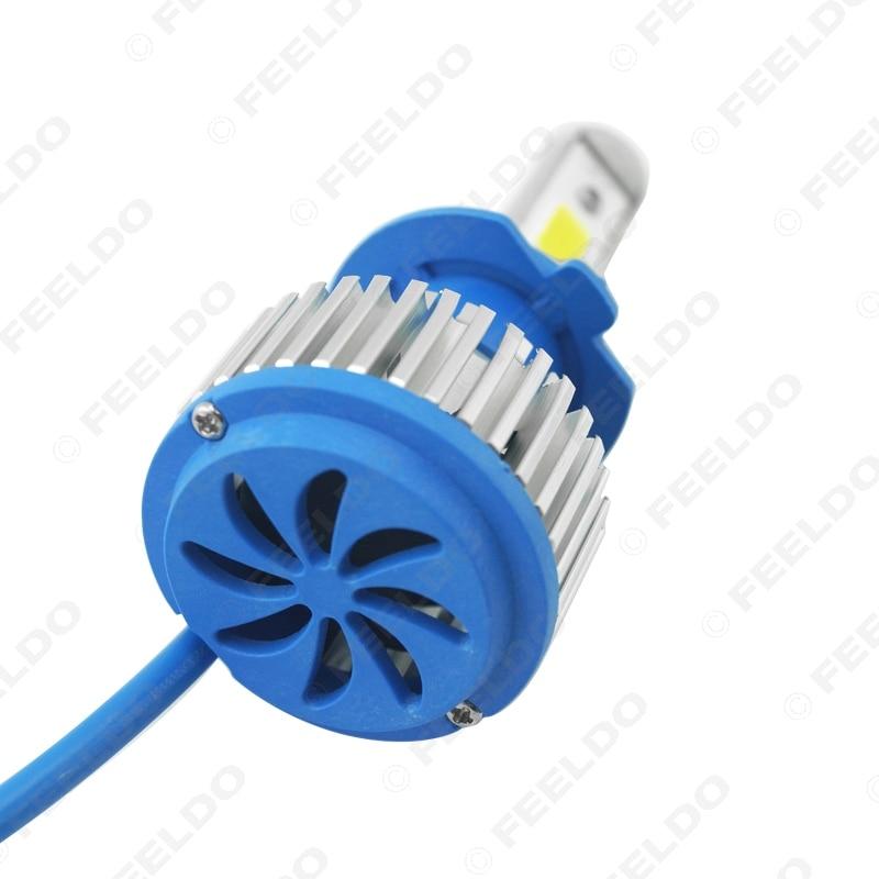 FEELDO 1Pair H7 COB Headlight Kits 6000K 48W 5200LM Car LED Headlights COB Chips Car Fog Light Bulbs with Fan