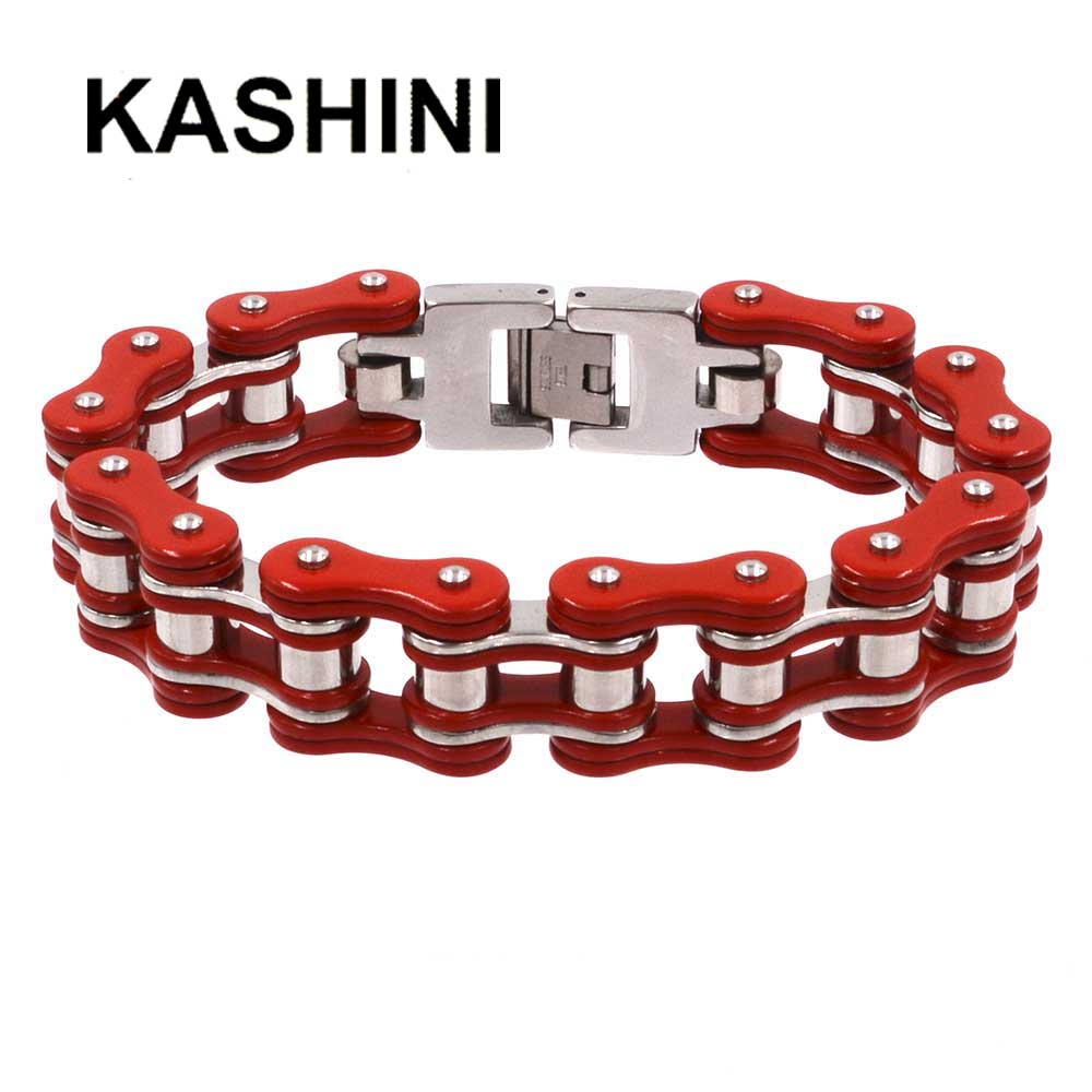 Punk Bracelet Motorcycle Mens Bracelets 316L Stainless Steel Men Bicycle Jewelry 16mm Largeu Red&Steel