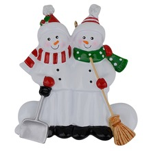 Resin Snowman Family Shovel Of 2 Christmas Ornaments Personalized Gifts Write Own Name For Holiday or Home Decor