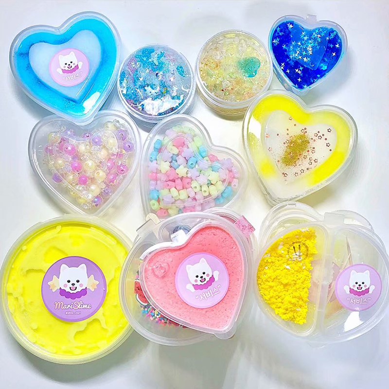 Happy Monkey 120ml/150ml 20pcs/lot Slime Box Container Toys  Plastic Heart Transparent Storage Box For Fluffy Cloud Slime Clay