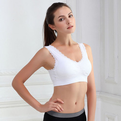 Solid Color Breathable Seamless Vest Female Sexy Lingerie Top Women Lady Chic Casual Solid Lace Fitness Bra Padded Bra Tops 2