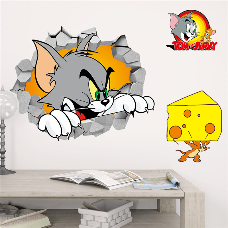 Tom Jerry 3d Broken Wall Stickers for Kids Room Cat Mouse Animals Mural Art Home Decals Movie Posters Children Gift Wall Decals