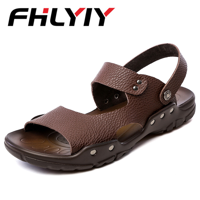 Men Casual Leather Sandals Shoes Summer Breathable Hole Flats Slipper Sandals 2018 Leisure Shoes Man Zapatos Hombre Black