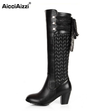 size 30-45 women real genuine leather high heel over knee boots long boot winter warm botas militares footwear heels shoes R2262