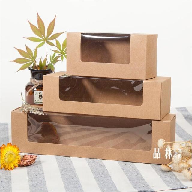 20 pcs papel kraft janela de plástico pvc caixa de Macarons, biscoitos de presente de papel Kraft caixa de embalagem de bolo, retângulo caixa de biscoitos doces