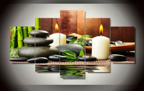 Wall Art Botanical Green Feng Shui White Candle Wall Painting Canvas Wall  Pictures For Living Room