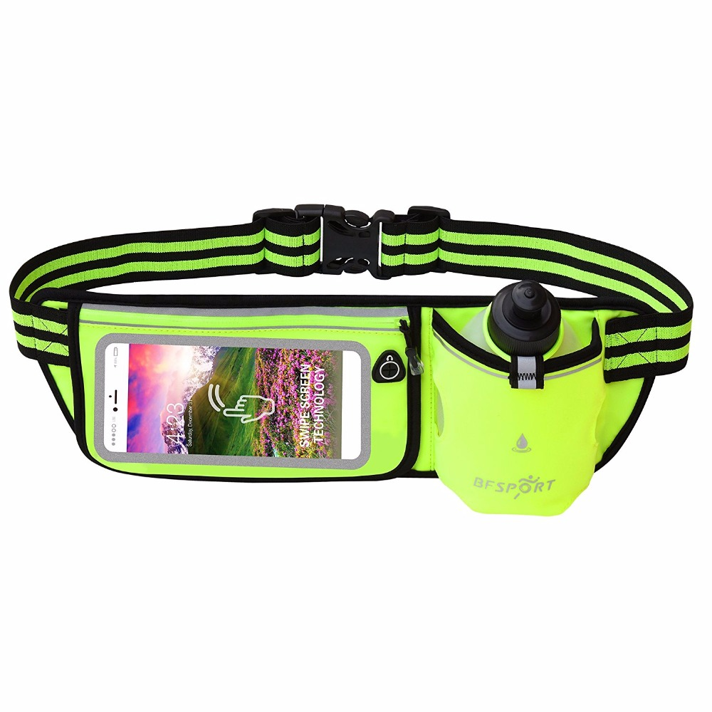 Hydration Running Belt Touchscreen Waterproof Zipper Waist Pack Sports Bum Bag with 9 oz Water Bottle Men Women Wasit Bag ...
