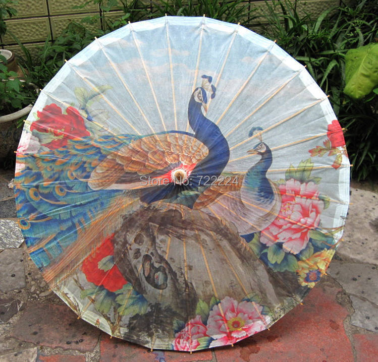 New arrival chinese handmade peafowl standing in the peony flowers picture oiled paper umbrella waterproof parasol umbrella