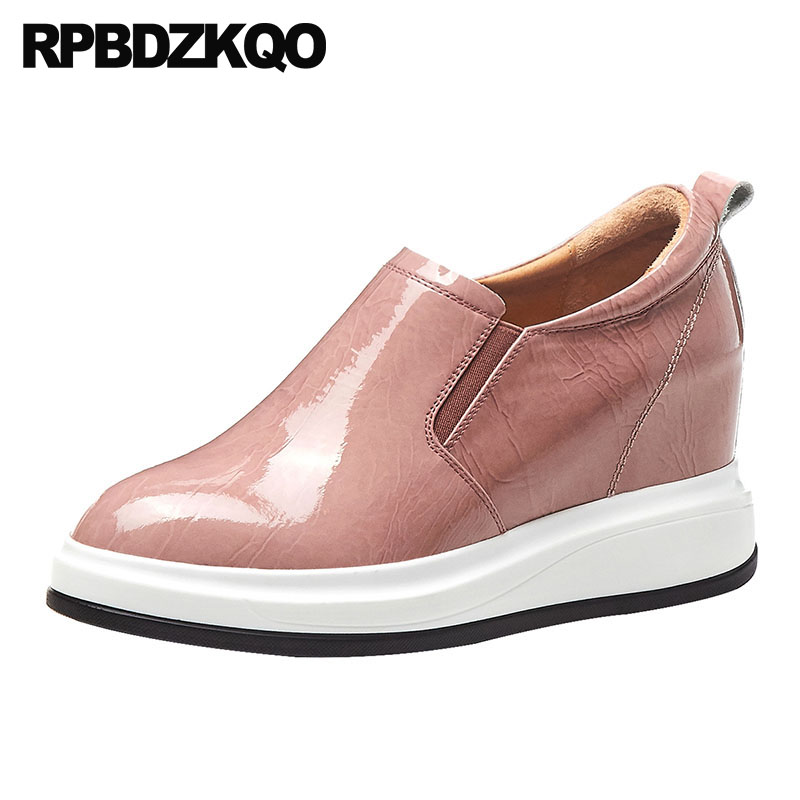 Women Thick Sole Elevator Designer Shoes China Pink Platform Slip On Plain Creepers Patent Leather Wedge Green Luxury Genuine