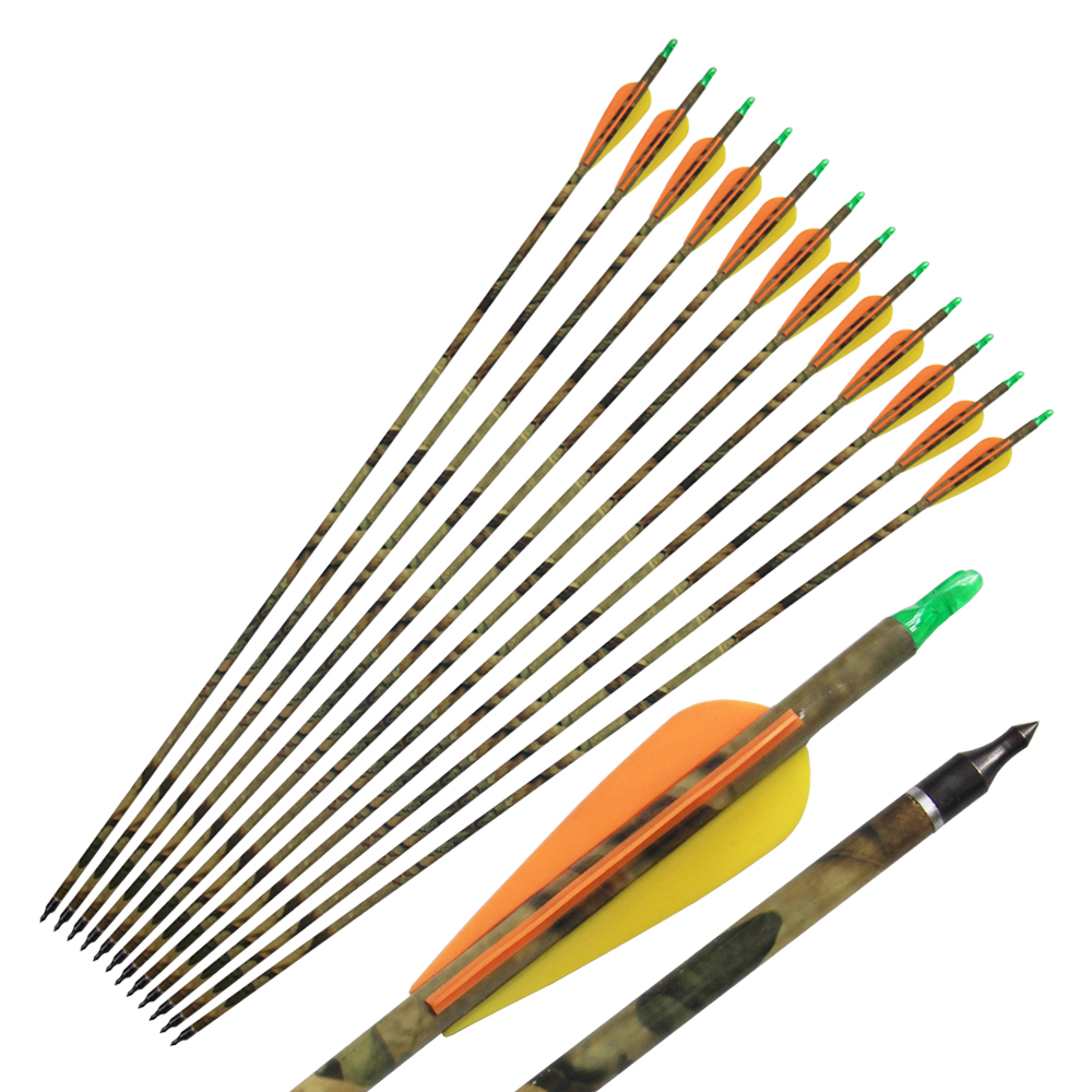 12Pcs 31 Camo Carbon Arrows Archery for Compound Bow Hunting 500 Spine with Replacable Tips