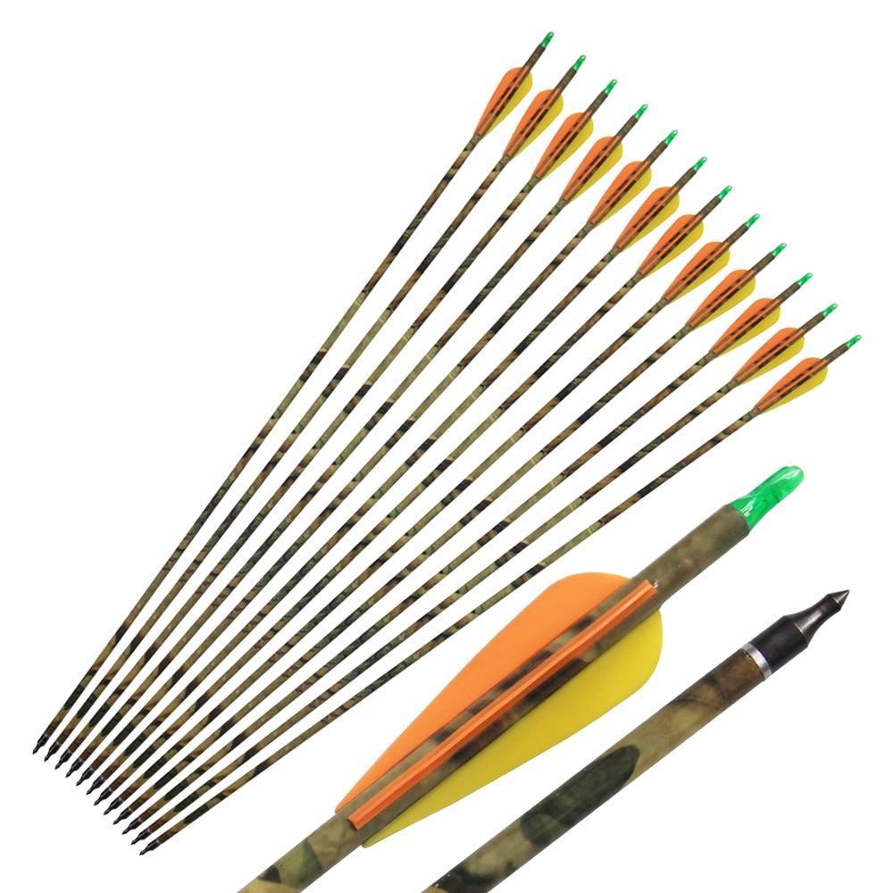 12pcs 31 '' Camo Carbon Стрілки Стрільби з лука для Складової Полювання Лук 500 хребта з Замінним Поради