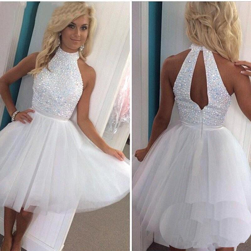 White Short   Prom     Dresses   2019 vestidos de noche Beading Tulle Imported Party   Dress   Sexy Mini Halter Special Occasion Party Gowns