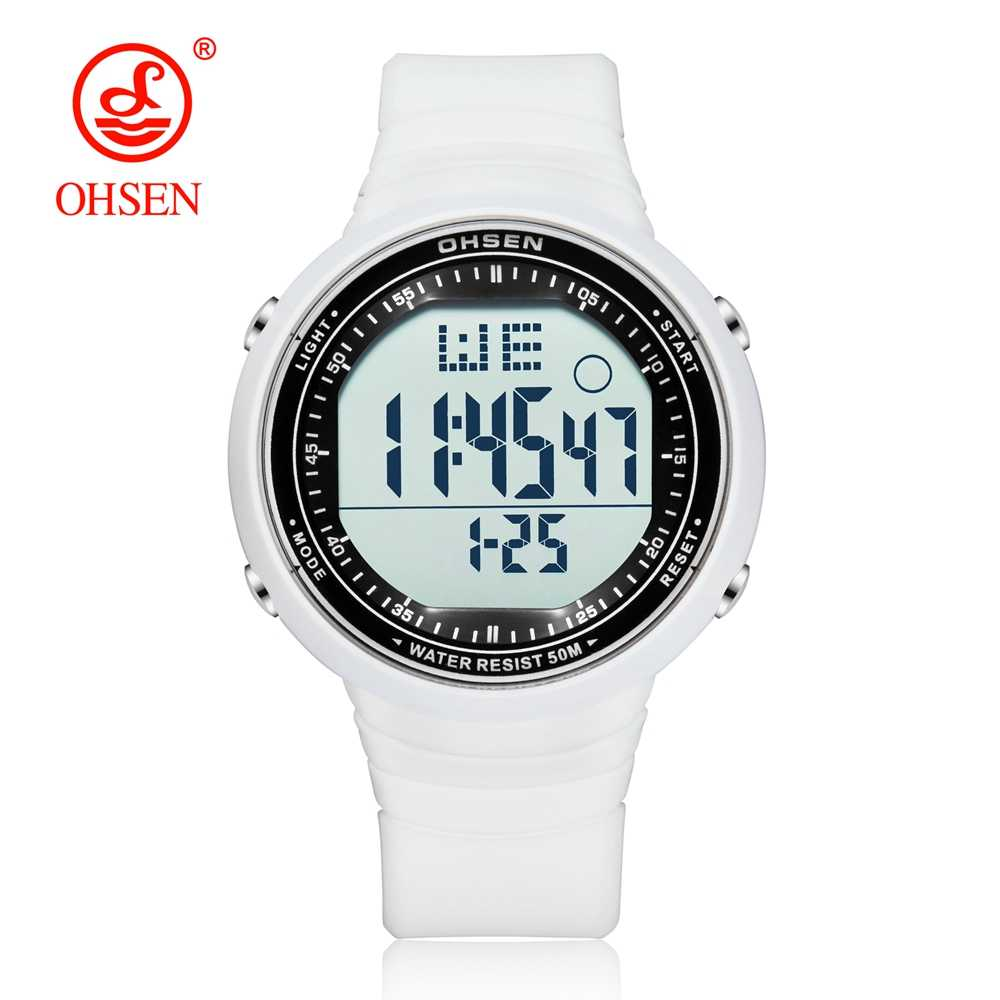 OHSEN Digital LCD Sport Men Wristwatch Relogio Masculino 50M Waterproof Alarm Date Rubber Fashion White Outdoor Sport Watch Gift