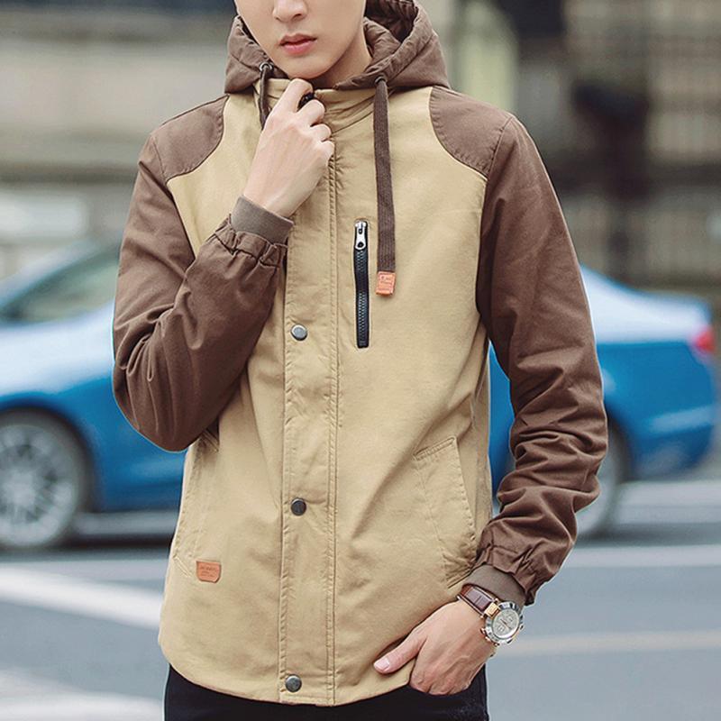 Fashion Men Spring Hooded Jackets Casual Outwear Long Sleeve Contrast Color Canvas Jacket Plus Size Hooded Windbreaker Coat